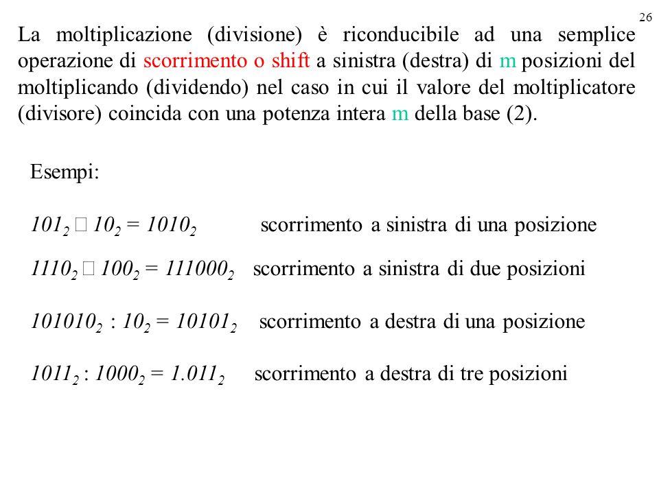 26 Esempi: 101 2 10 2 = 1010 2 scorrimento a sinistra di una posizione 1110 2 100 2 = 111000 2 scorrimento a sinistra di due posizioni 101010 2 : 10 2