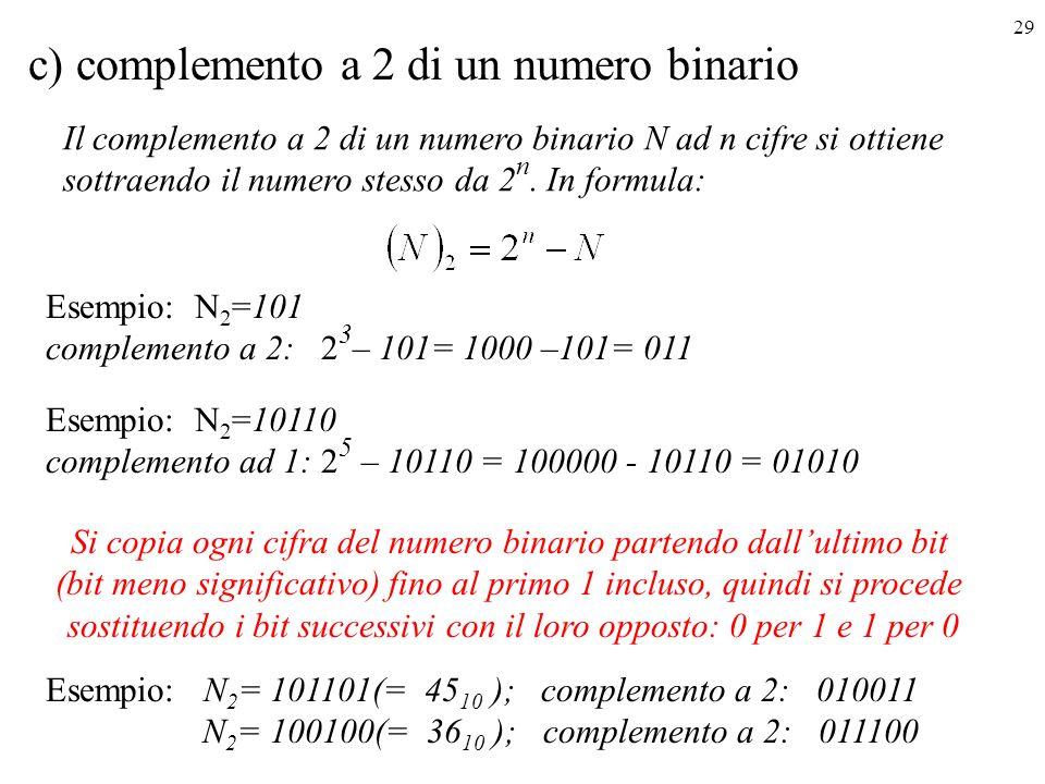 29 c) complemento a 2 di un numero binario Il complemento a 2 di un numero binario N ad n cifre si ottiene sottraendo il numero stesso da 2 n. In form