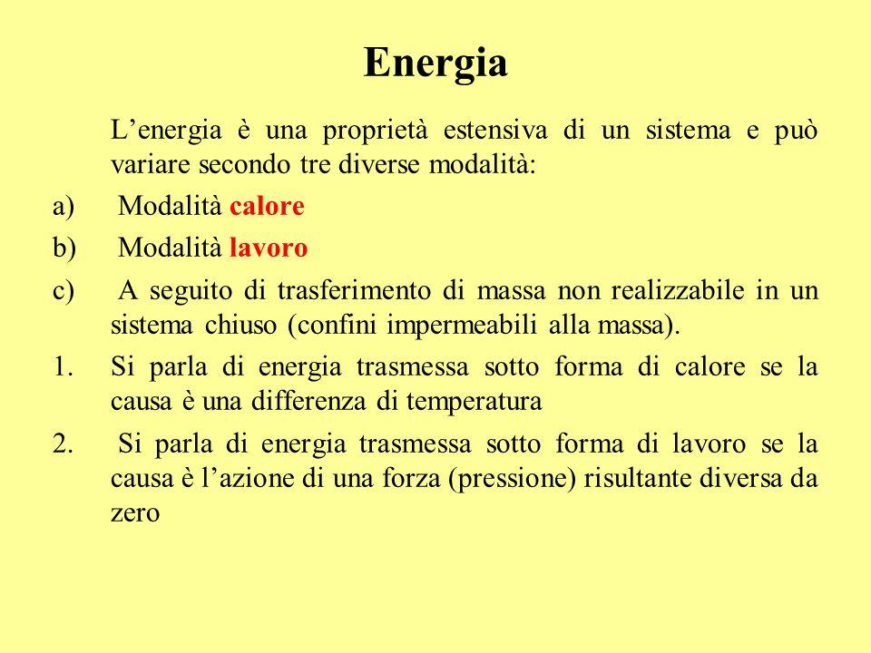 Né lavoro, né calore sono proprietà di stato del sistema, bensì grandezze in transito tra sistema e ambiente o tra due sistemi ed esistono quando cè scambio di energia e quindi varia il contenuto di energia del sistema.