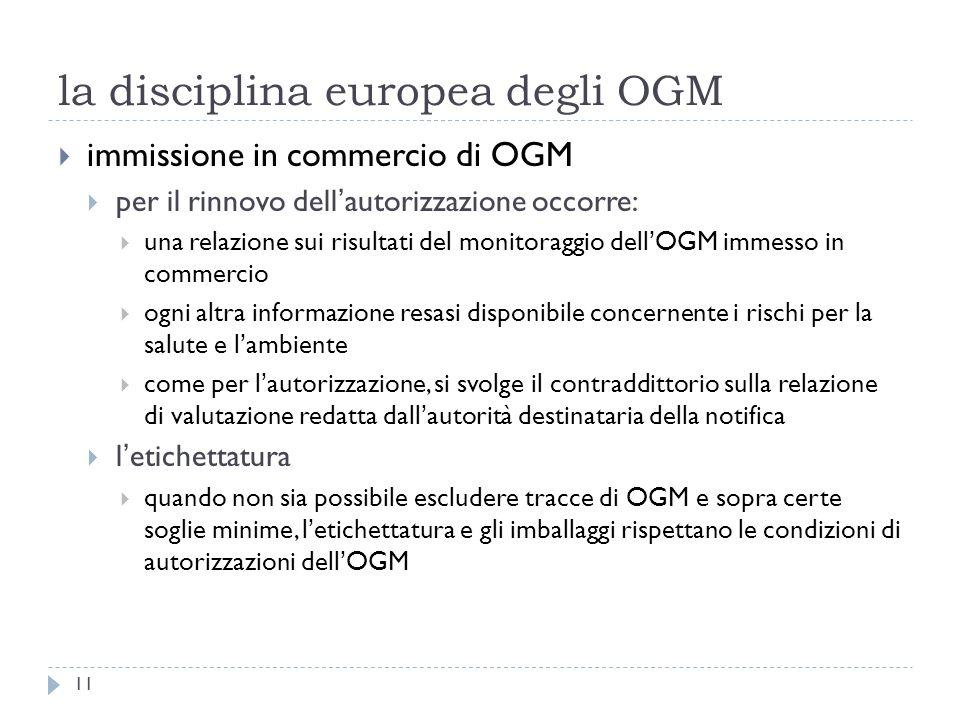 la disciplina europea degli OGM immissione in commercio di OGM per il rinnovo dellautorizzazione occorre: una relazione sui risultati del monitoraggio