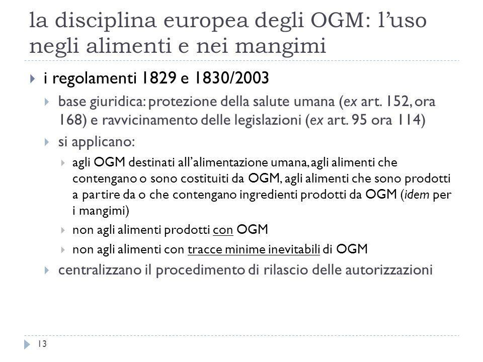 la disciplina europea degli OGM: luso negli alimenti e nei mangimi i regolamenti 1829 e 1830/2003 base giuridica: protezione della salute umana (ex ar