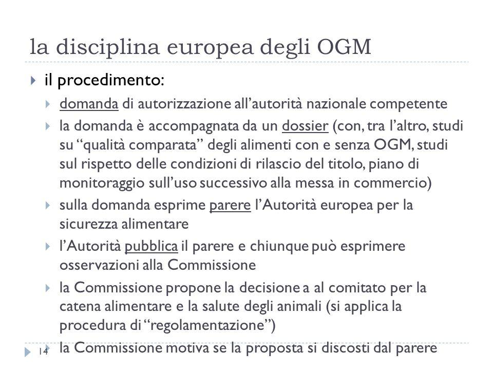 la disciplina europea degli OGM il procedimento: domanda di autorizzazione allautorità nazionale competente la domanda è accompagnata da un dossier (c
