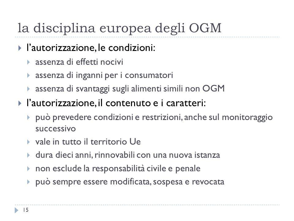 la disciplina europea degli OGM lautorizzazione, le condizioni: assenza di effetti nocivi assenza di inganni per i consumatori assenza di svantaggi su