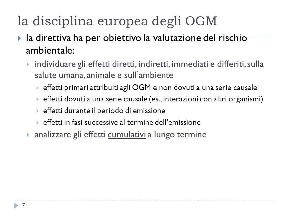 la disciplina europea degli OGM la direttiva ha per obiettivo la valutazione del rischio ambientale: individuare gli effetti diretti, indiretti, immed