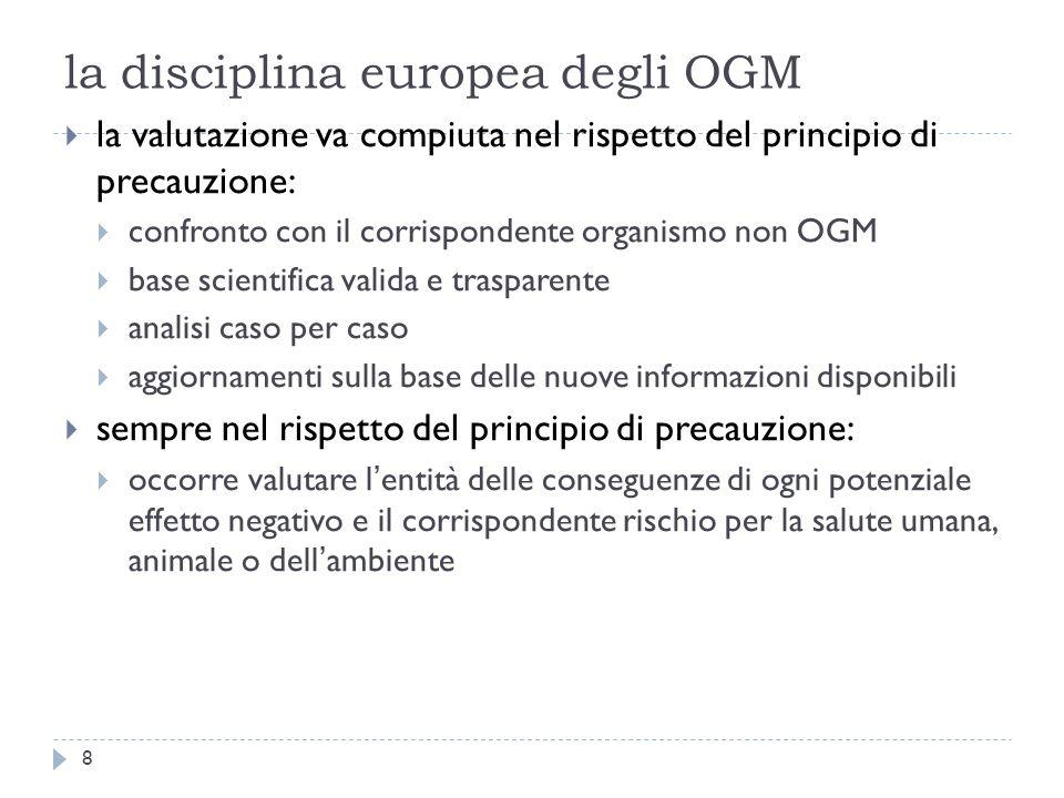 la disciplina europea degli OGM la valutazione va compiuta nel rispetto del principio di precauzione: confronto con il corrispondente organismo non OG