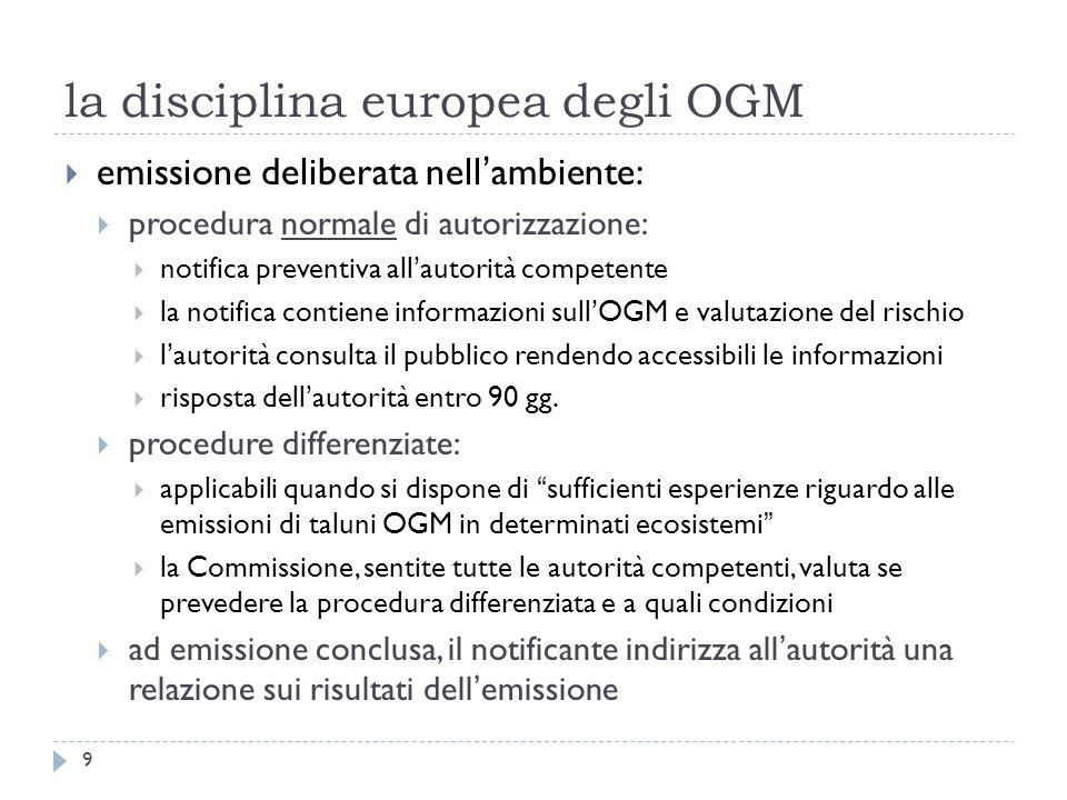 la disciplina europea degli OGM emissione deliberata nellambiente: procedura normale di autorizzazione: notifica preventiva allautorità competente la