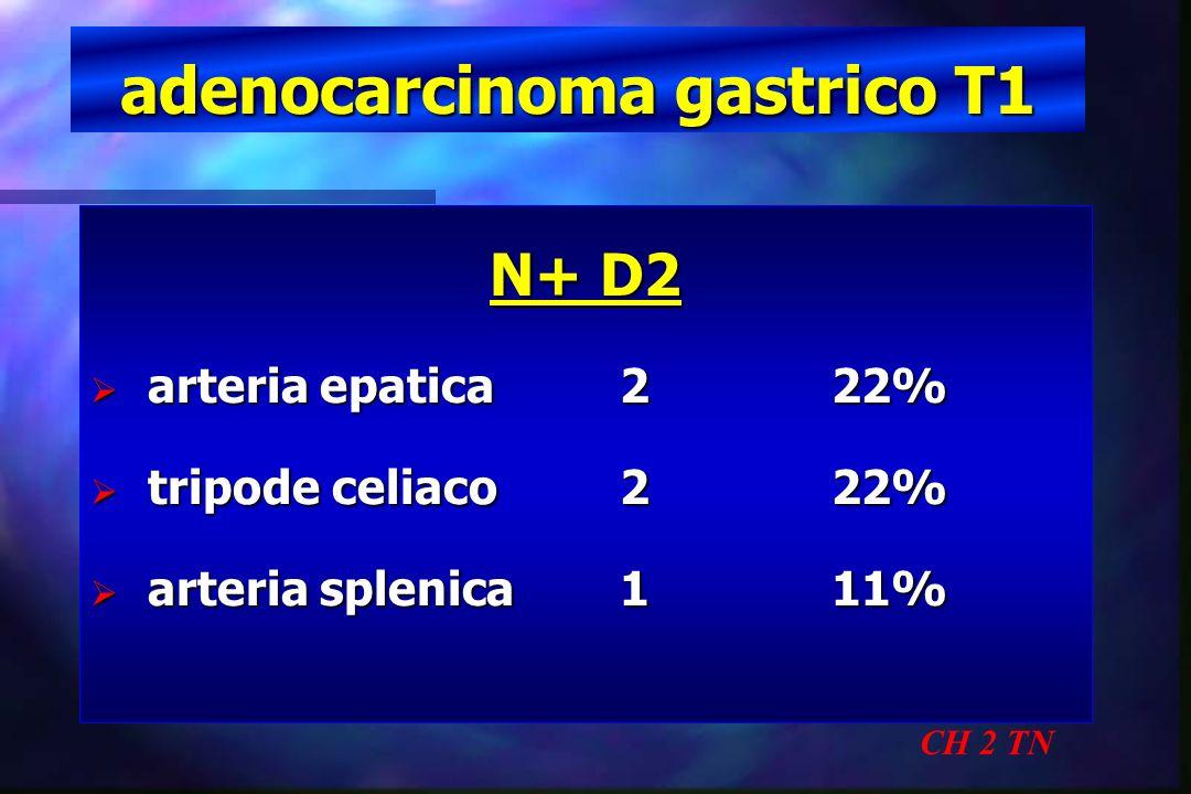 adenocarcinoma gastrico T1 CH 2 TN N+ D2 arteria epatica222% arteria epatica222% tripode celiaco222% tripode celiaco222% arteria splenica111% arteria