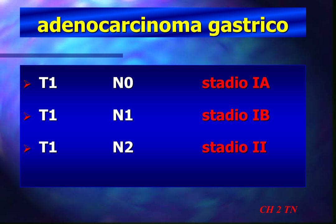 adenocarcinoma gastrico CH 2 TN T1N0stadio IA T1N0stadio IA T1N1stadio IB T1N1stadio IB T1N2stadio II T1N2stadio II