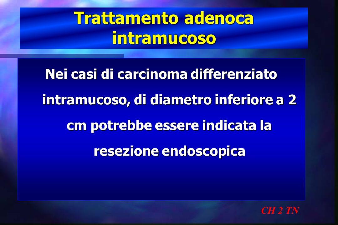 Trattamento adenoca intramucoso CH 2 TN Nei casi di carcinoma differenziato intramucoso, di diametro inferiore a 2 cm potrebbe essere indicata la rese