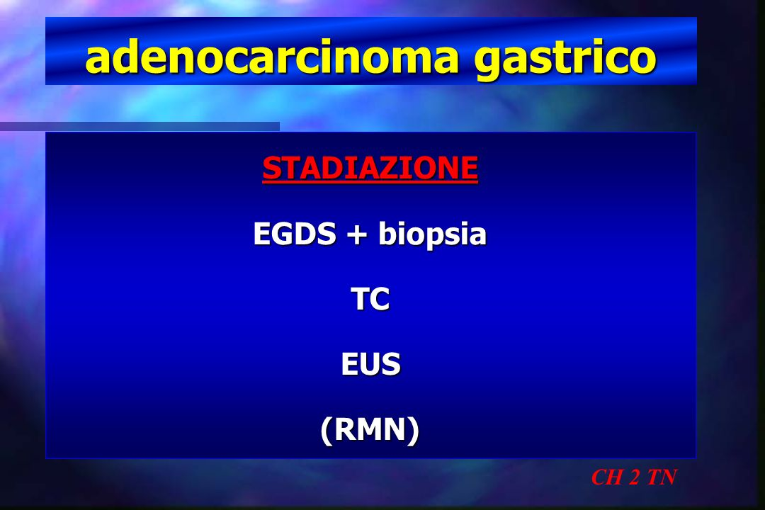 adenocarcinoma gastrico T1 CH 2 TN < 2 cm > 2 cm G 1 73 G 2 47 G 3 49 G 4 15