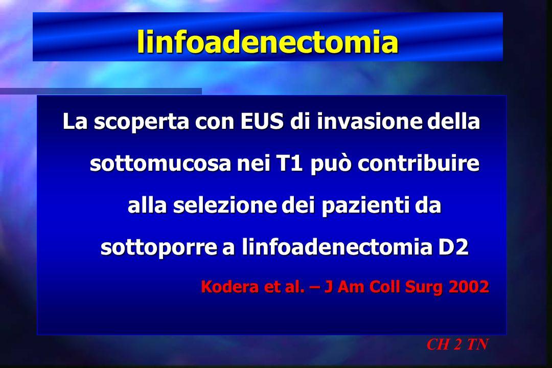 linfoadenectomia CH 2 TN La scoperta con EUS di invasione della sottomucosa nei T1 può contribuire alla selezione dei pazienti da sottoporre a linfoad