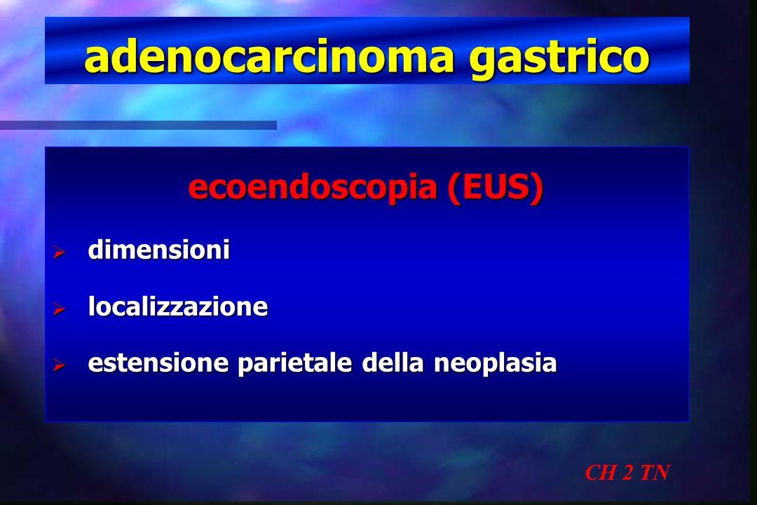 adenocarcinoma gastrico CH 2 TN ecoendoscopia (EUS) invasione parietale (pT)85-88% invasione parietale (pT)85-88% N+ perigastrici(sens)80 % N+ perigastrici(sens)80 % N+ perigastrici(spec)80-90% N+ perigastrici(spec)80-90% Tunaci - Eur J Radiol 2002