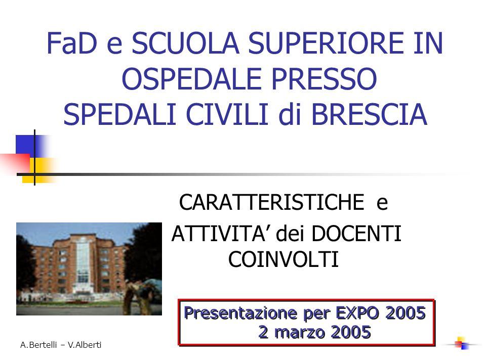 FaD e SCUOLA SUPERIORE IN OSPEDALE PRESSO SPEDALI CIVILI di BRESCIA CARATTERISTICHE e ATTIVITA dei DOCENTI COINVOLTI Presentazione per EXPO 2005 2 mar