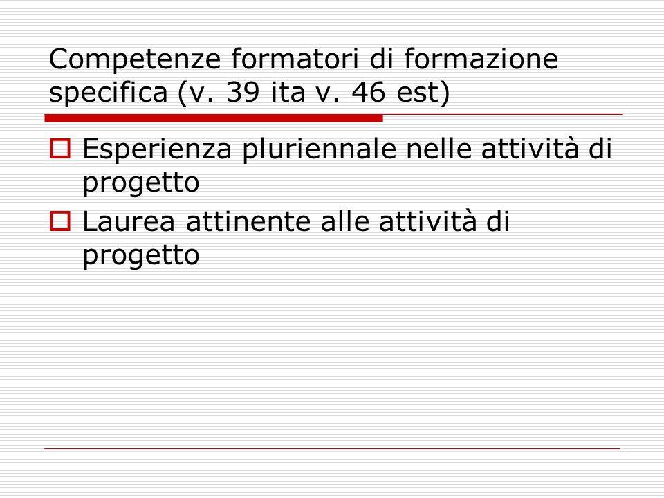 Competenze formatori di formazione specifica (v. 39 ita v.
