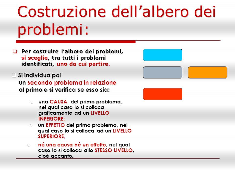 Costruzione dellalbero dei problemi: Per costruire lalbero dei problemi, si sceglie, tra tutti i problemi identificati, uno da cui partire.