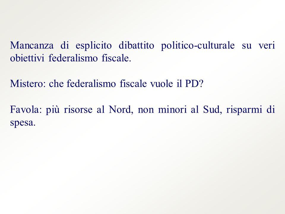Mancanza di esplicito dibattito politico-culturale su veri obiettivi federalismo fiscale.