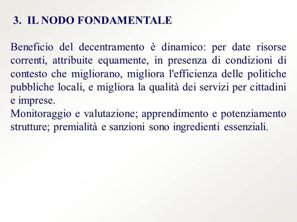 3. IL NODO FONDAMENTALE Beneficio del decentramento è dinamico: per date risorse correnti, attribuite equamente, in presenza di condizioni di contesto