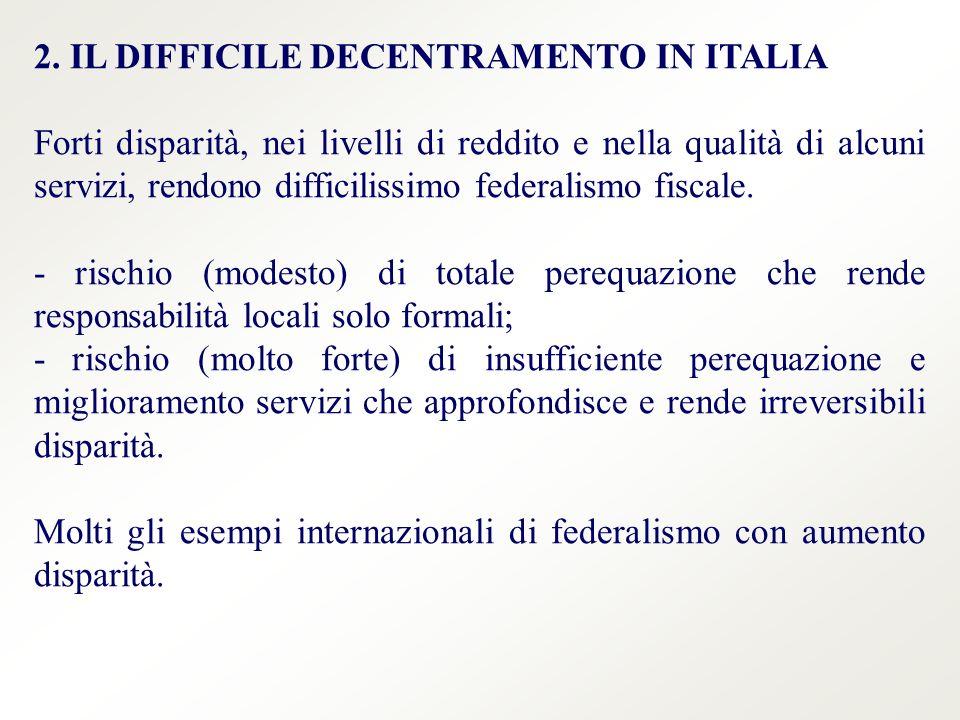 2. IL DIFFICILE DECENTRAMENTO IN ITALIA Forti disparità, nei livelli di reddito e nella qualità di alcuni servizi, rendono difficilissimo federalismo