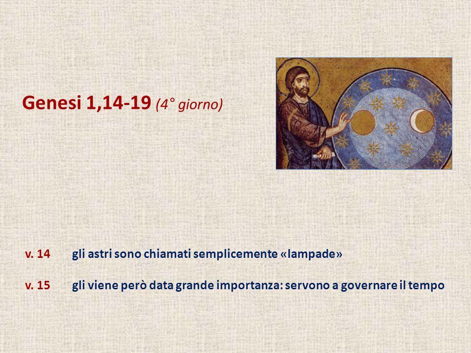 Genesi 1,14-19 (4° giorno) v. 14gli astri sono chiamati semplicemente «lampade» v. 15gli viene però data grande importanza: servono a governare il tem