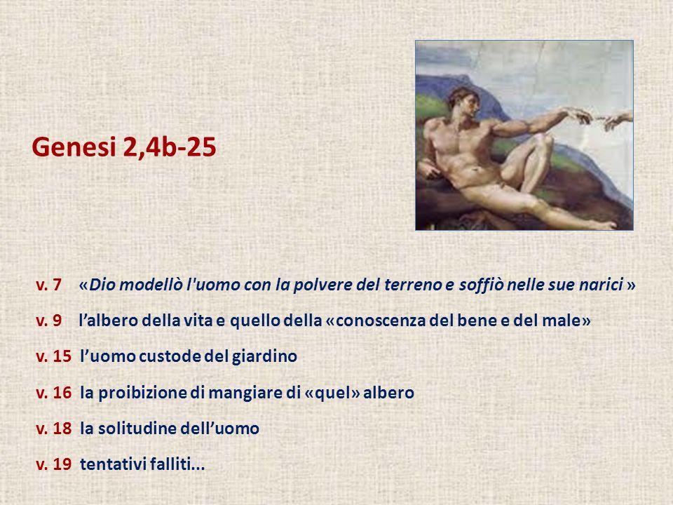 Genesi 2,4b-25 v. 7 «Dio modellò l'uomo con la polvere del terreno e soffiò nelle sue narici » v. 9 lalbero della vita e quello della «conoscenza del