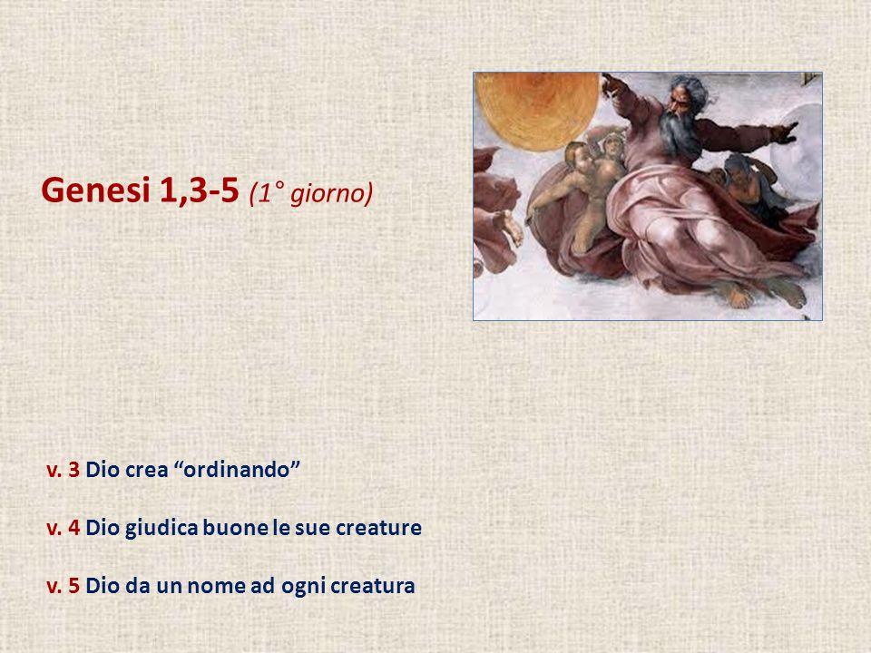 Genesi 1,3-5 (1° giorno) v. 3 Dio crea ordinando v. 4 Dio giudica buone le sue creature v. 5 Dio da un nome ad ogni creatura
