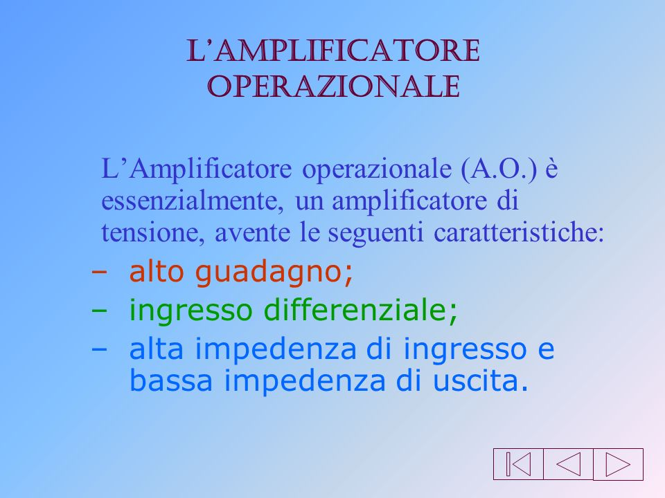 introduzione Lamplificatore operazionale (AO)Lamplificatore operazionale (AO) è un circuito integrato costituito da una rete di resistenze, capacità,