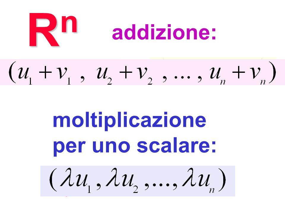 RnRnRnRn addizione: + moltiplicazione per uno scalare: Operazioni in R n