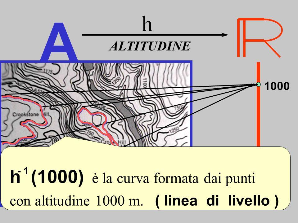 A ALTITUDINE h 1000 h (1000) è la curva formata dai punti con altitudine 1000 m. ( linea di livello ) - 1 Linee di livello