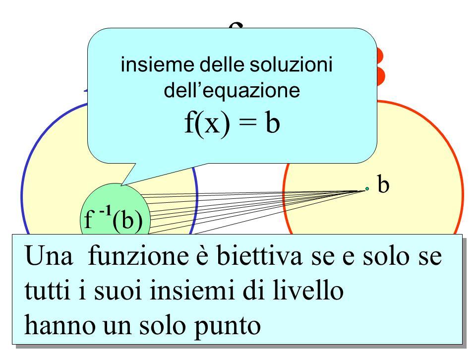 A B f b f -1 (b) controimmagine di b mediante f f (b) ( insieme di livello ) insieme delle soluzioni dellequazione f(x) = b Una funzione è biettiva se
