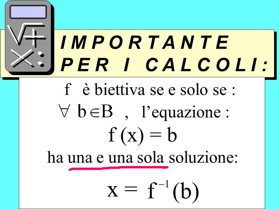 I M P O R T A N T E P E R I C A L C O L I : I M P O R T A N T E P E R I C A L C O L I : f è biettiva se e solo se :, lequazione : f (x) = b ha una e u