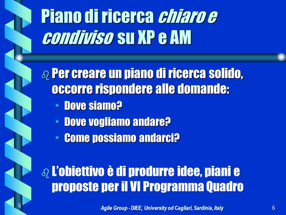 Agile Group - DIEE, University od Cagliari, Sardinia, Italy 7 7 NAME: Piano di lavoro