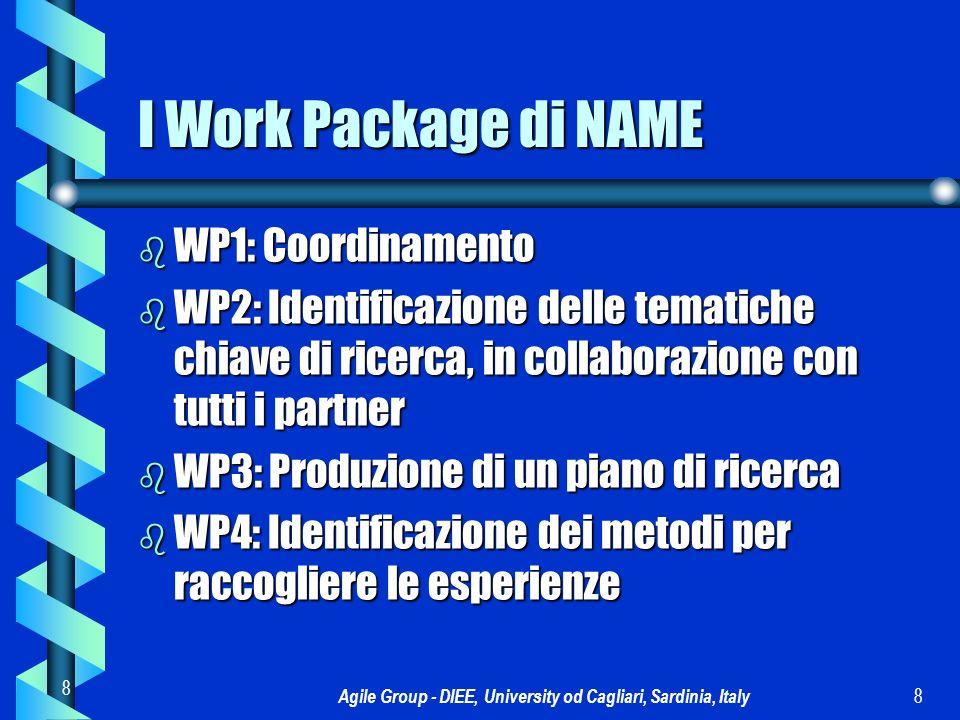 Agile Group - DIEE, University od Cagliari, Sardinia, Italy 9 9 I Work Package di NAME b WP5: Produzione di un metodo unificato per raccogliere le esperienze b WP6: Disseminazione interna b WP7: Disseminazione esterna