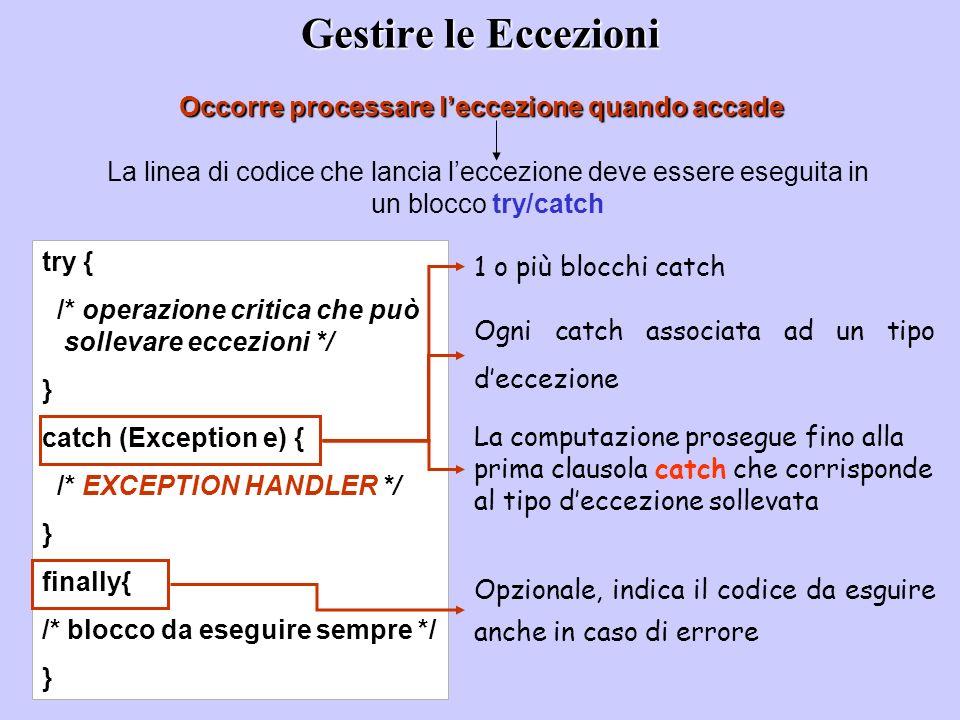 Gestire le Eccezioni Occorre processare leccezione quando accade La linea di codice che lancia leccezione deve essere eseguita in un blocco try/catch try { /* operazione critica che può sollevare eccezioni */ } catch (Exception e) { /* EXCEPTION HANDLER */ } finally{ /* blocco da eseguire sempre */ } 1 o più blocchi catch Ogni catch associata ad un tipo deccezione La computazione prosegue fino alla prima clausola catch che corrisponde al tipo deccezione sollevata Opzionale, indica il codice da esguire anche in caso di errore