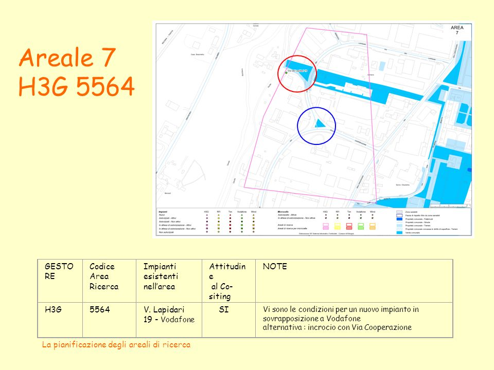 La pianificazione degli areali di ricerca Areale 24 Vodafone B GESTORECodice Area Ricerca Impianti esistenti nellarea Attitudine al Co-siting Vodafone B RFI (Scalo S.