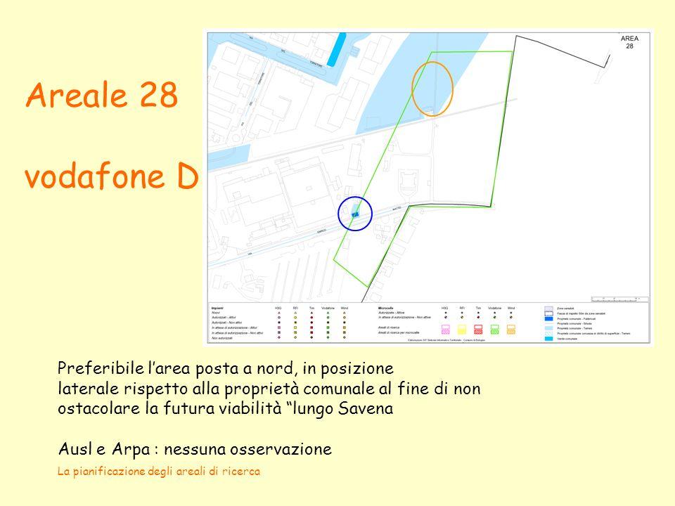 La pianificazione degli areali di ricerca Areale 28 vodafone D Preferibile larea posta a nord, in posizione laterale rispetto alla proprietà comunale