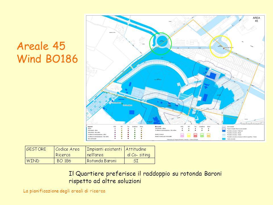 La pianificazione degli areali di ricerca Areale 45 Wind BO186 Il Quartiere preferisce il raddoppio su rotonda Baroni rispetto ad altre soluzioni