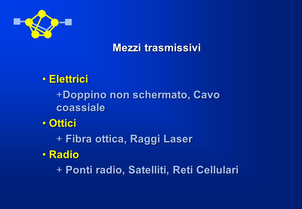 Mezzi trasmissivi Elettrici Elettrici +Doppino non schermato, Cavo coassiale Ottici Ottici + Fibra ottica, Raggi Laser Radio Radio + Ponti radio, Sate