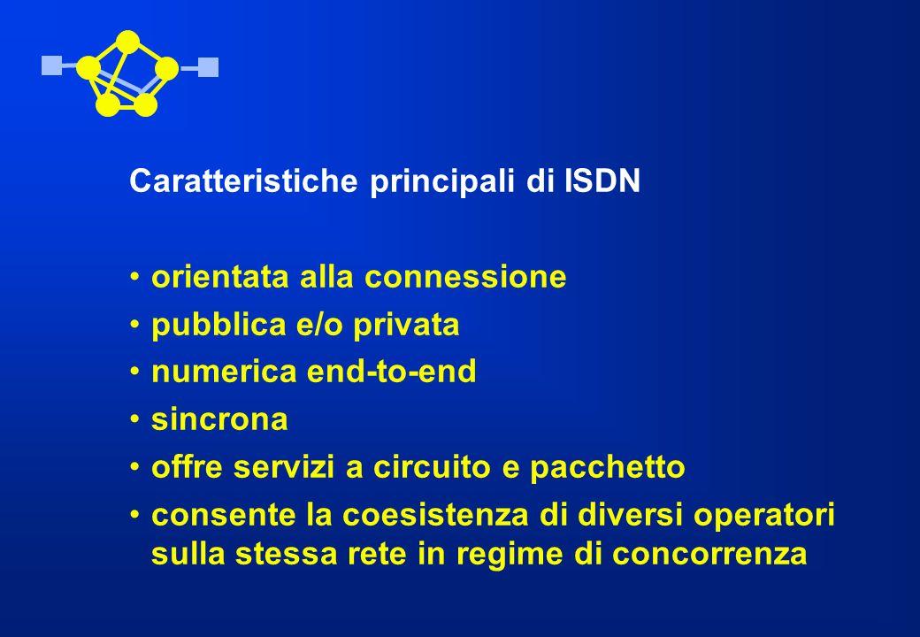 Caratteristiche principali di ISDN orientata alla connessione pubblica e/o privata numerica end-to-end sincrona offre servizi a circuito e pacchetto c