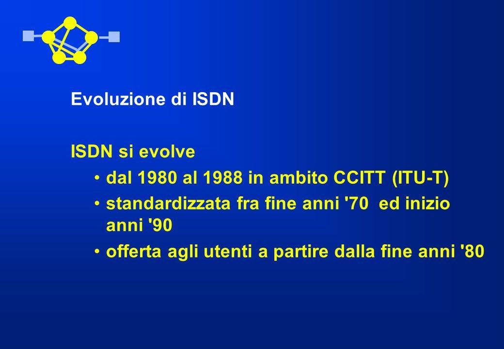 Evoluzione di ISDN ISDN si evolve dal 1980 al 1988 in ambito CCITT (ITU-T) standardizzata fra fine anni '70 ed inizio anni '90 offerta agli utenti a p