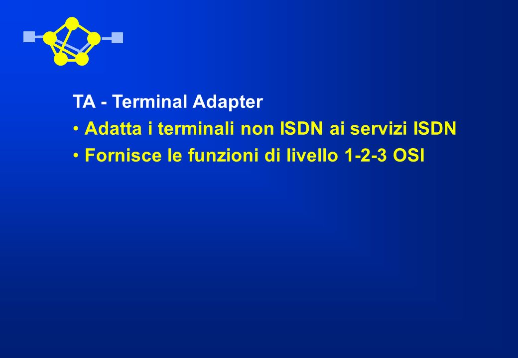 TA - Terminal Adapter Adatta i terminali non ISDN ai servizi ISDN Fornisce le funzioni di livello 1-2-3 OSI