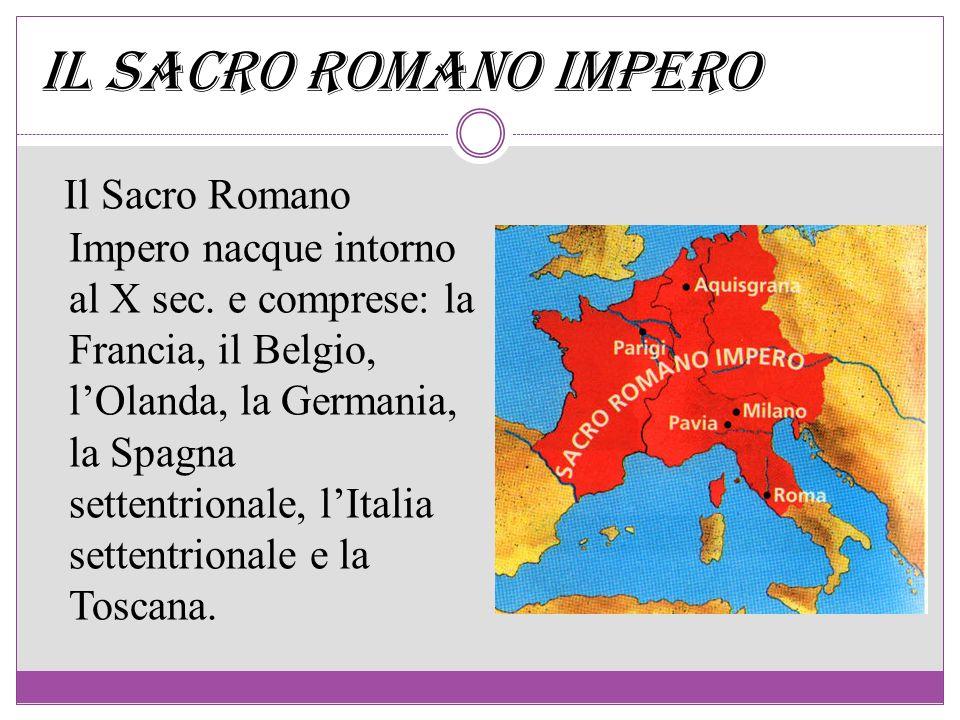 Il Sacro Romano Impero nacque intorno al X sec. e comprese: la Francia, il Belgio, lOlanda, la Germania, la Spagna settentrionale, lItalia settentrion