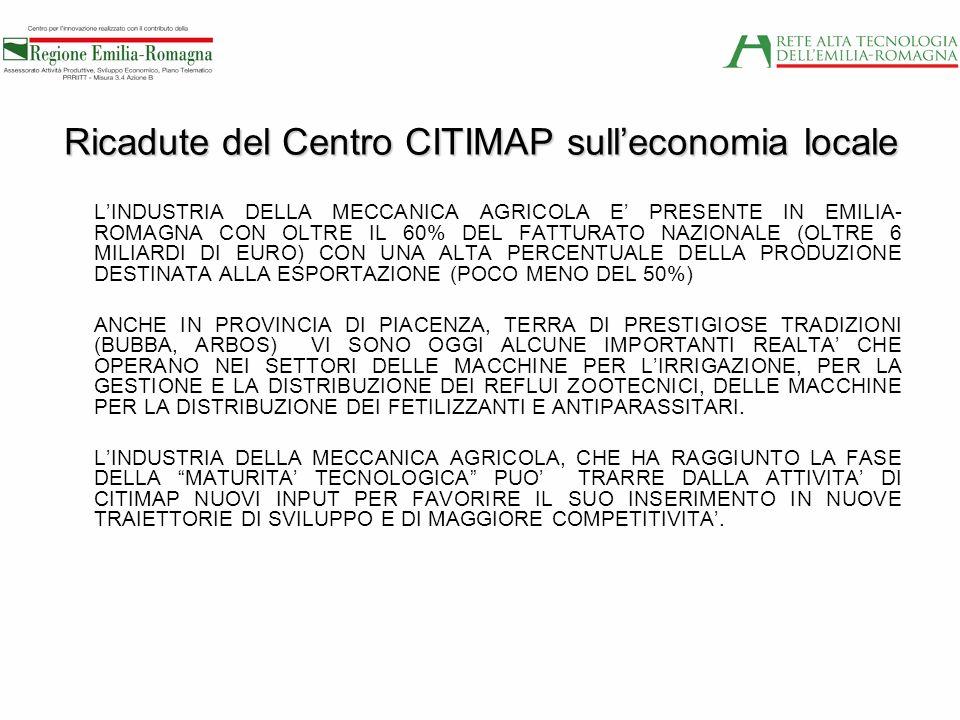 Ricadute del Centro CITIMAP sulleconomia locale LINDUSTRIA DELLA MECCANICA AGRICOLA E PRESENTE IN EMILIA- ROMAGNA CON OLTRE IL 60% DEL FATTURATO NAZIO