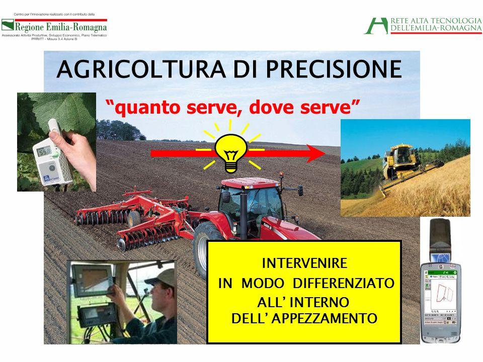 AGRICOLTURA DI PRECISIONE quanto serve, dove serve INTERVENIRE IN MODO DIFFERENZIATO ALL INTERNO DELL APPEZZAMENTO