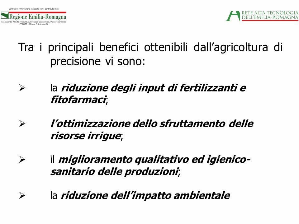 Tra i principali benefici ottenibili dallagricoltura di precisione vi sono: la riduzione degli input di fertilizzanti e fitofarmaci; lottimizzazione d