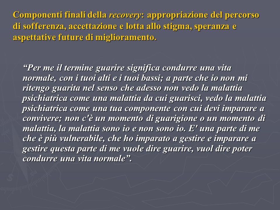 Componenti finali della recovery: appropriazione del percorso di sofferenza, accettazione e lotta allo stigma, speranza e aspettative future di miglioramento.