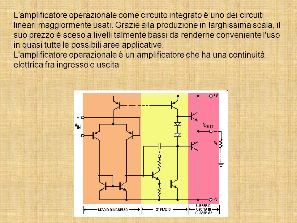 L amplificatore operazionale come circuito integrato è uno dei circuiti lineari maggiormente usati.