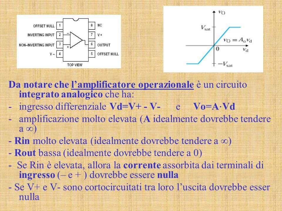 Da notare che lamplificatore operazionale è un circuito integrato analogico che ha: -ingresso differenziale Vd=V+ - V- e Vo=A Vd -amplificazione molto elevata (A idealmente dovrebbe tendere a ) - Rin molto elevata (idealmente dovrebbe tendere a ) - Rout bassa (idealmente dovrebbe tendere a 0) - Se Rin è elevata, allora la corrente assorbita dai terminali di ingresso (– e + ) dovrebbe essere nulla - Se V+ e V- sono cortocircuitati tra loro luscita dovrebbe esser nulla