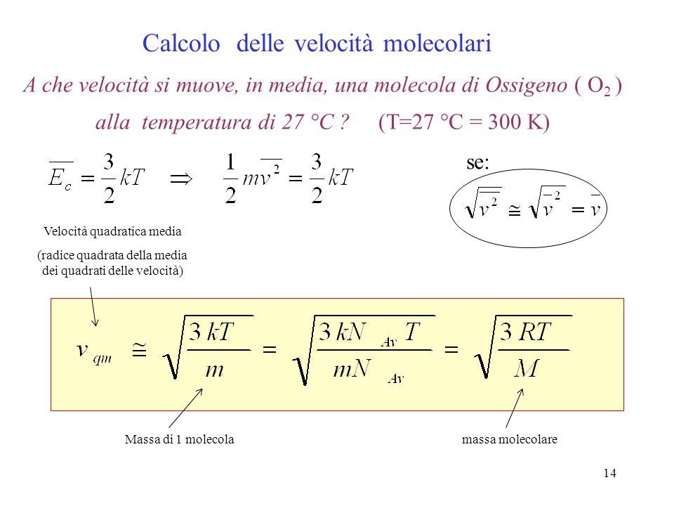 13 La temperatura assoluta è (se la deduzione è corretta !), direttamente proporzionale alla sola energia cinetica media molecolare. Scaldando un gas