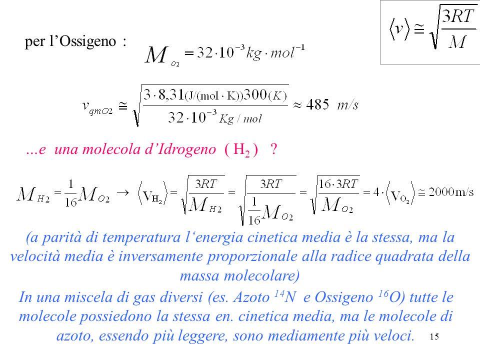 14 Calcolo delle velocità molecolari A che velocità si muove, in media, una molecola di Ossigeno ( O 2 ) alla temperatura di 27 °C ? (T=27 °C = 300 K)