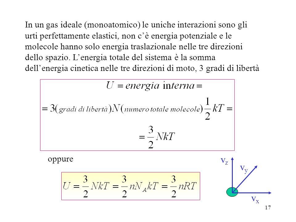 16 Energia interna di un gas ideale Lenergia interna di una sostanza è la somma di tutte le energie: potenziali, cinetiche, rotazionali, delle molecol